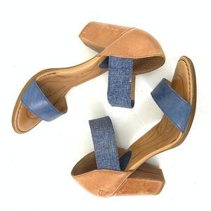 Born Chunk 3-inch Heel Sandal Denim Strap Size 10M